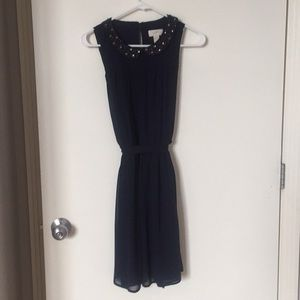 LOFT Navy Dress with embellished collar